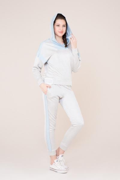 GIZIA SPORT - Mavi Şerit Detaylı Gri Spor Pantolon