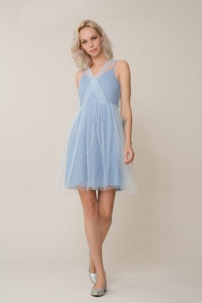GIZIA CASUAL - Mavi Tül Mini Elbise
