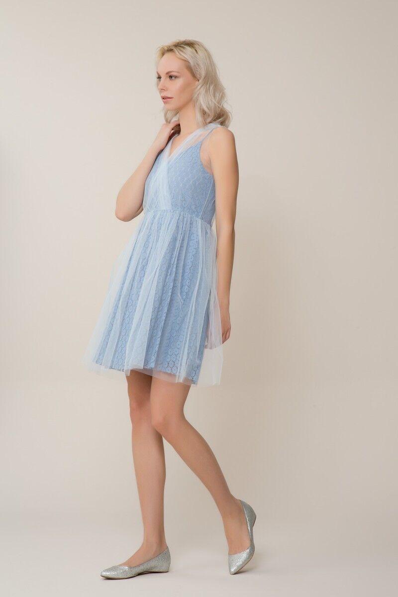 Mavi Tül Mini Elbise