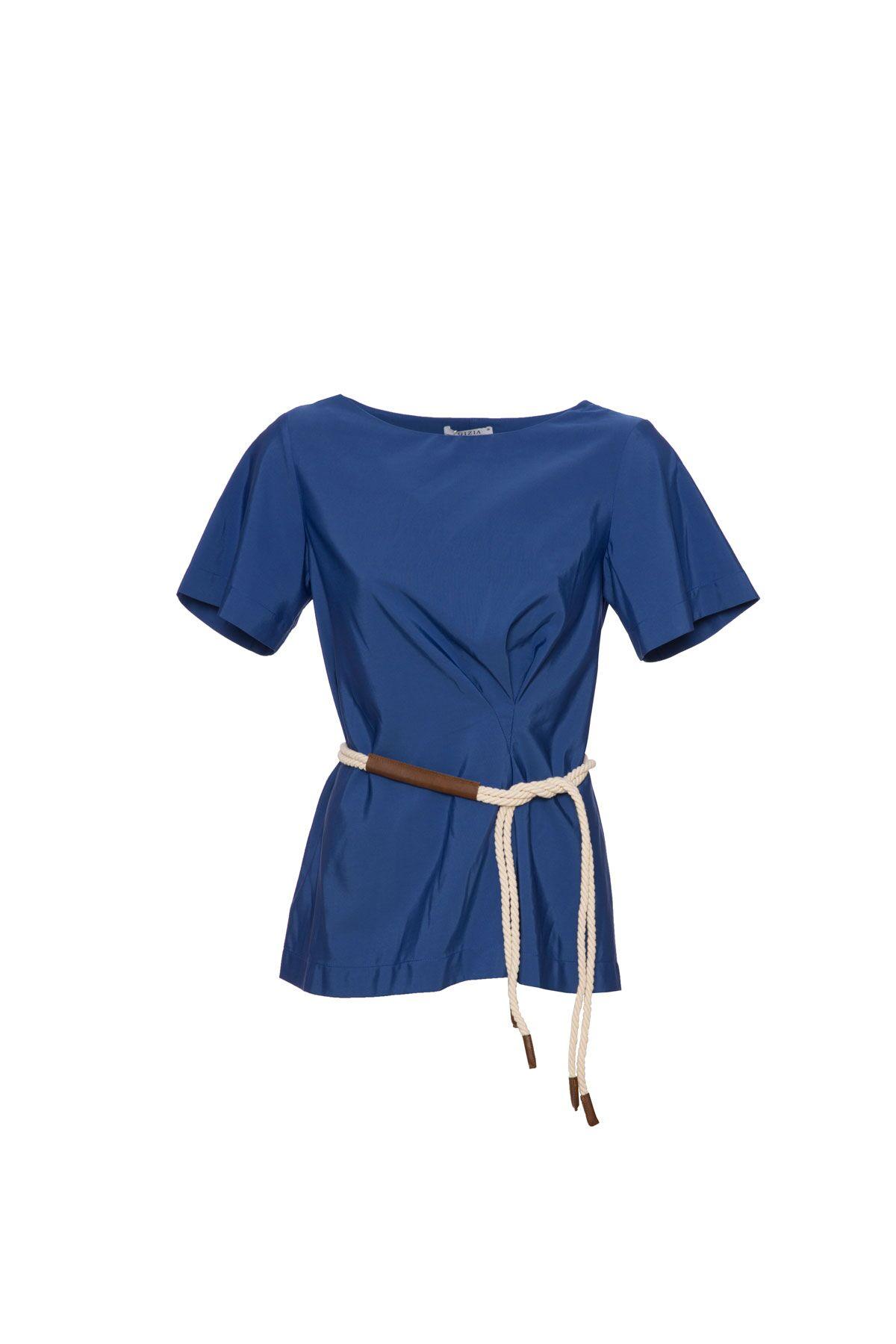 Pileli Mavi Kısa Kollu Bluz
