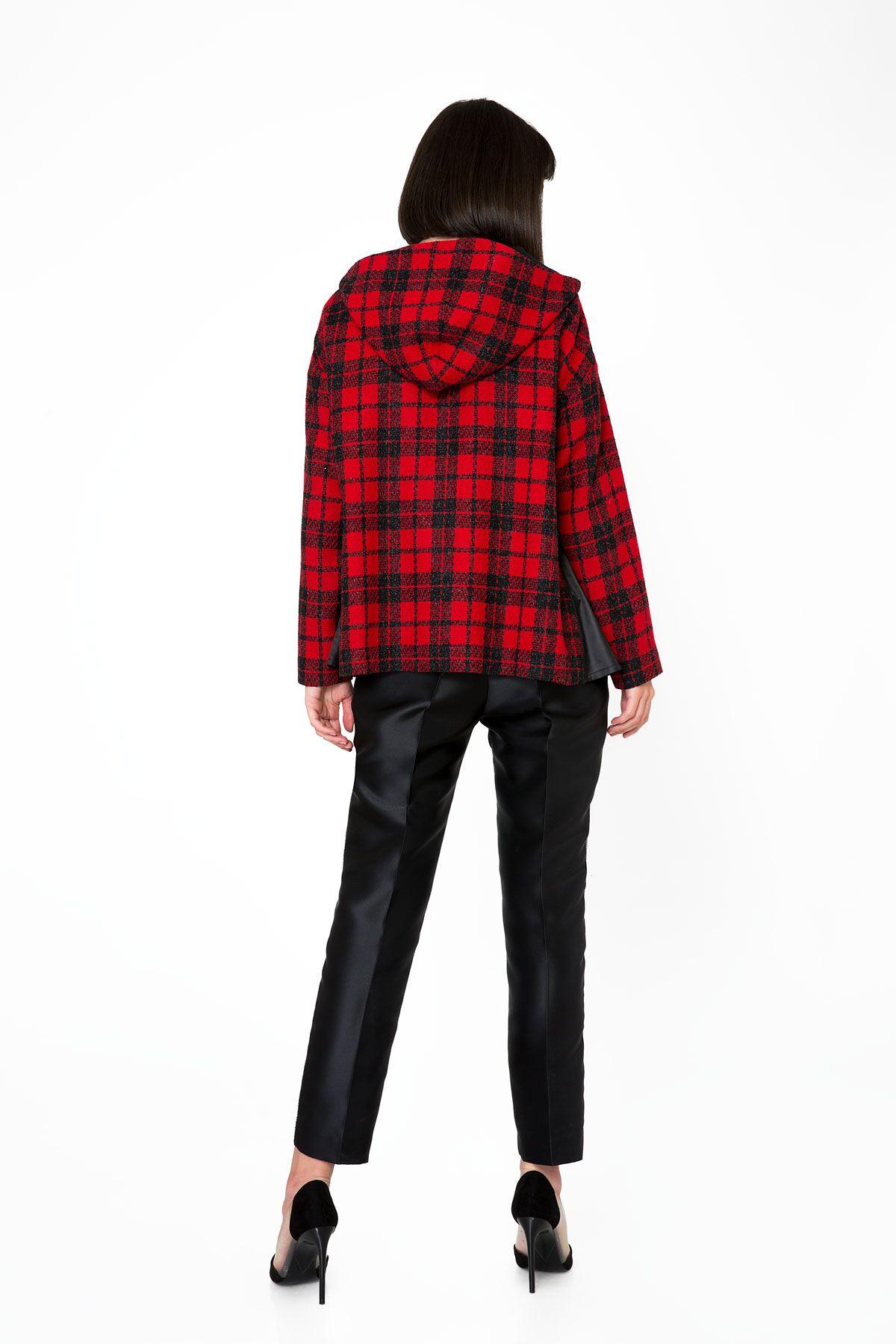 Kırmızı Ekose Desenli Kapüşonlu Sweatshirt