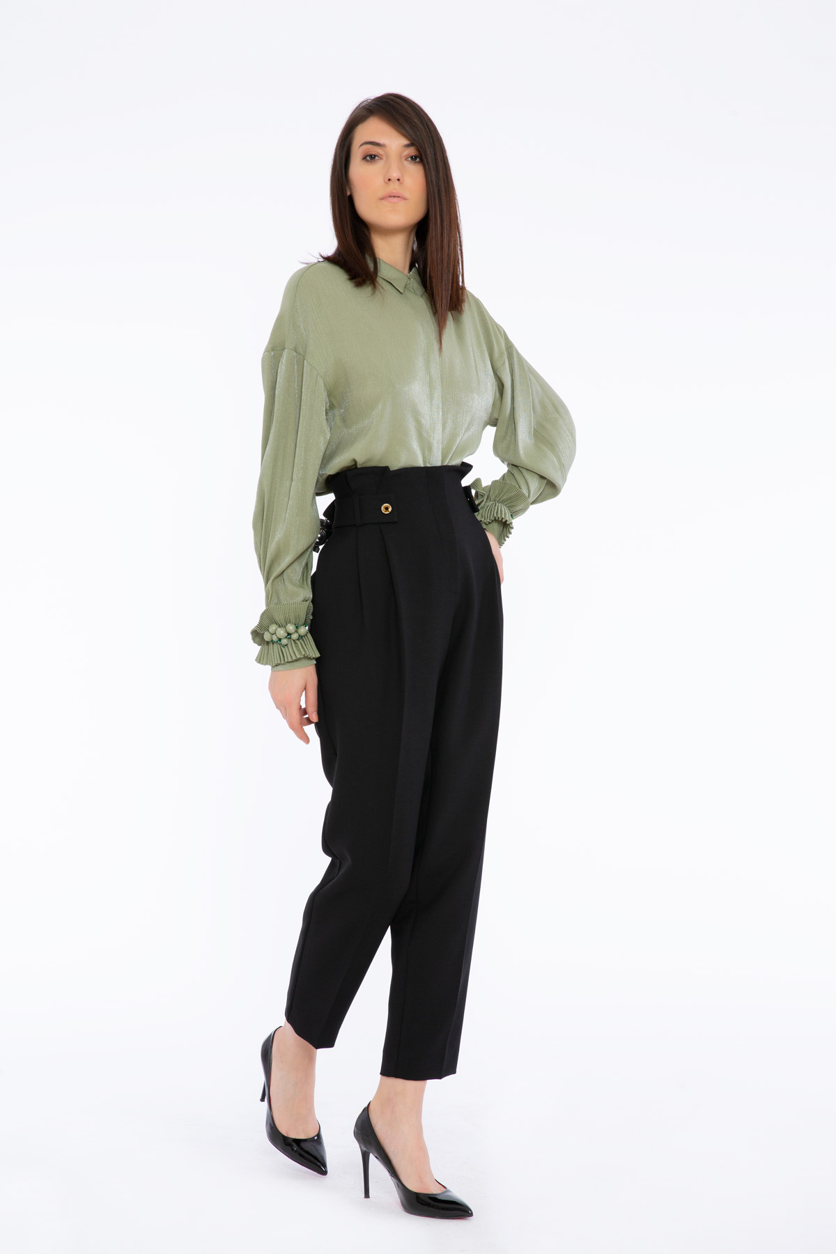 Düğme Detaylı Yüksek Bel Siyah Pantolon