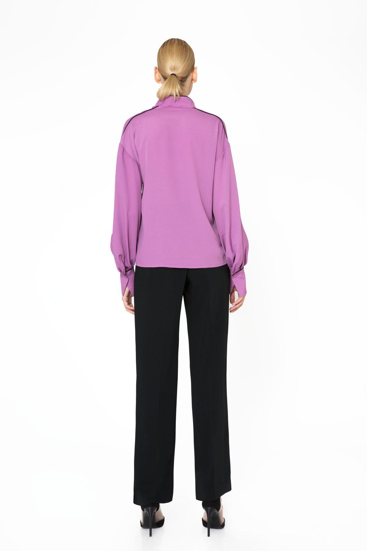 Şerit Detaylı Uzun Kollu Lila Bluz