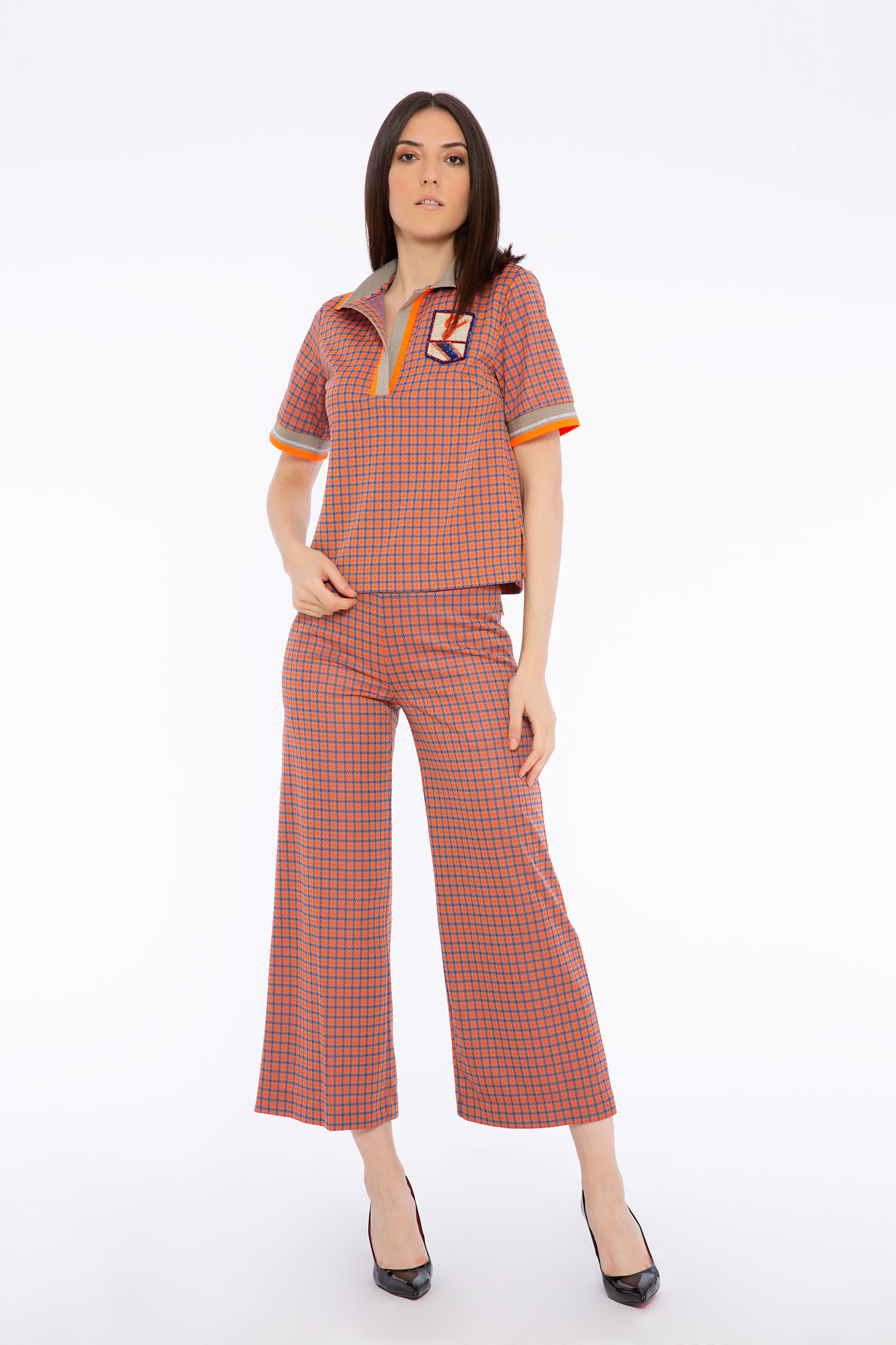 Arma Detaylı Triko Bantlı Örme Turuncu Crop Bluz