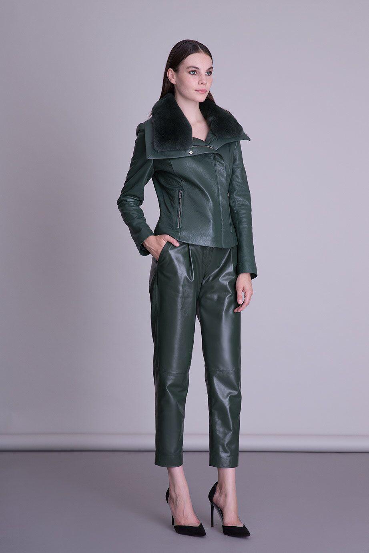 Yaka Kürk Detaylı Yeşil Deri Ceket