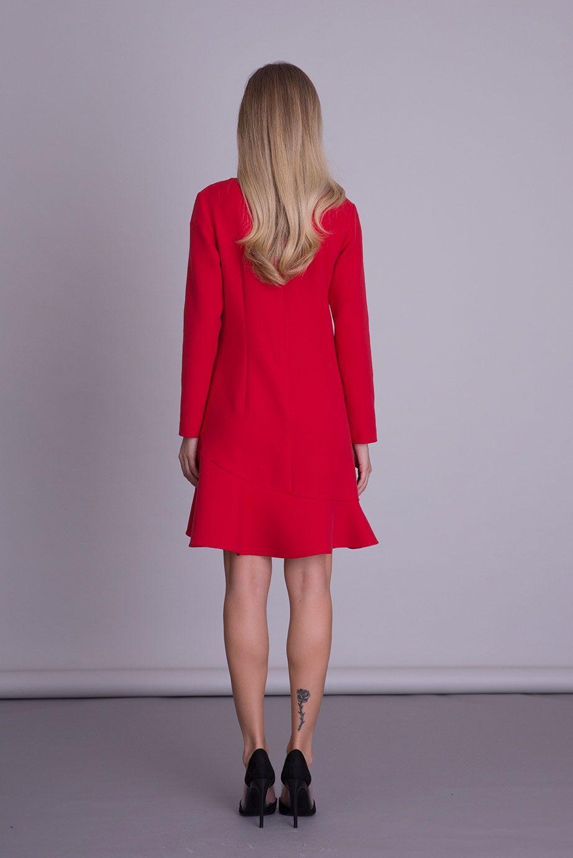 Uzun Kollu Kırmızı Elbise