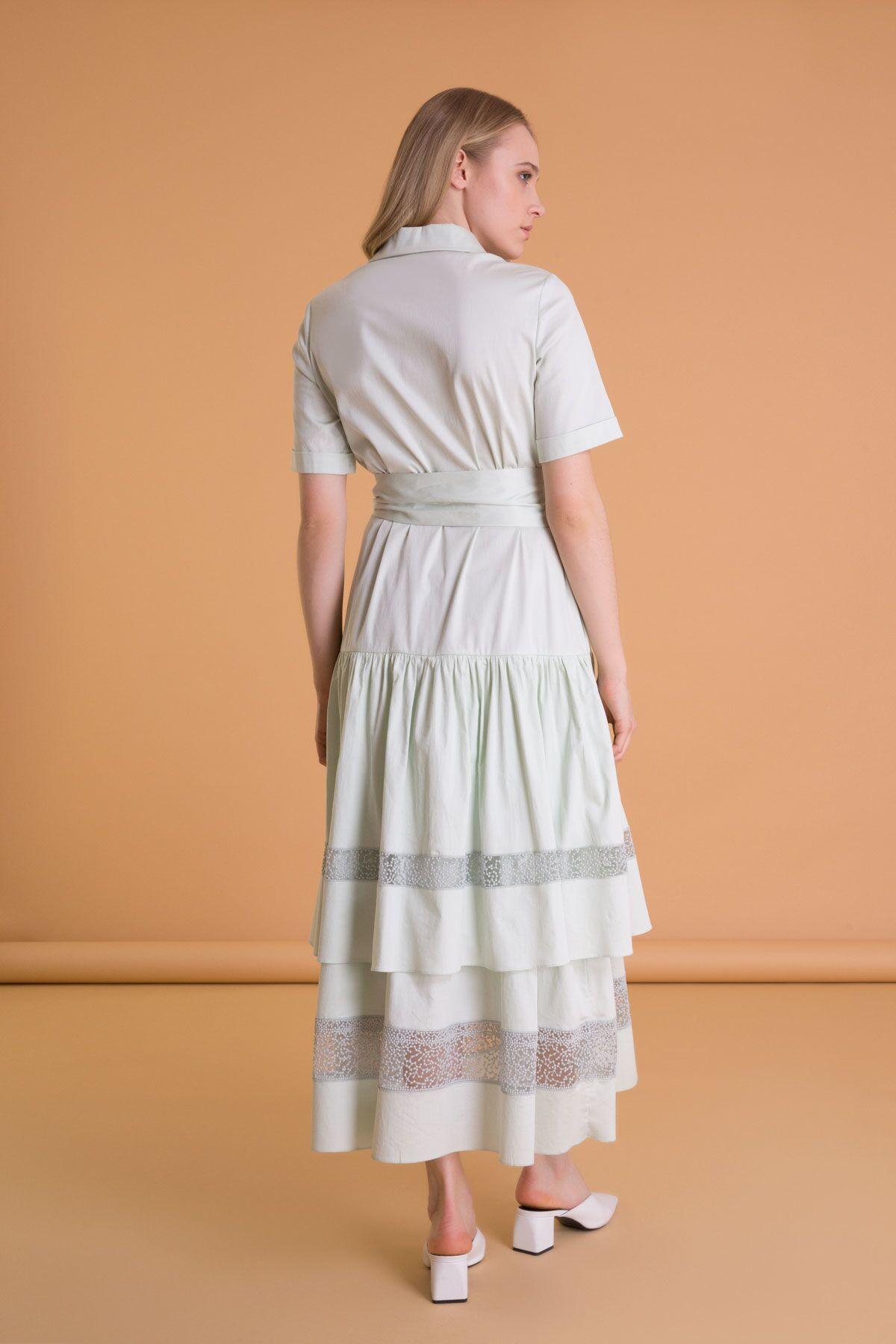 Şerit Dantel Detaylı Gömlek Yaka Uzun Elbise