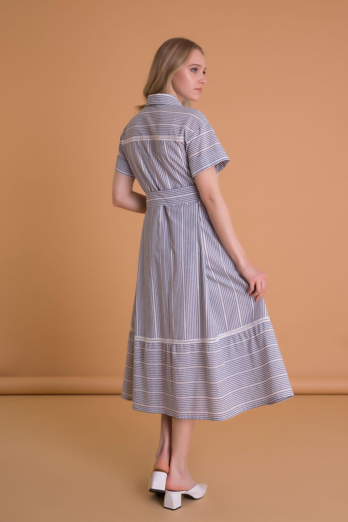 Dantel Detaylı Çizgili Gömlek Yaka Midi Elbise