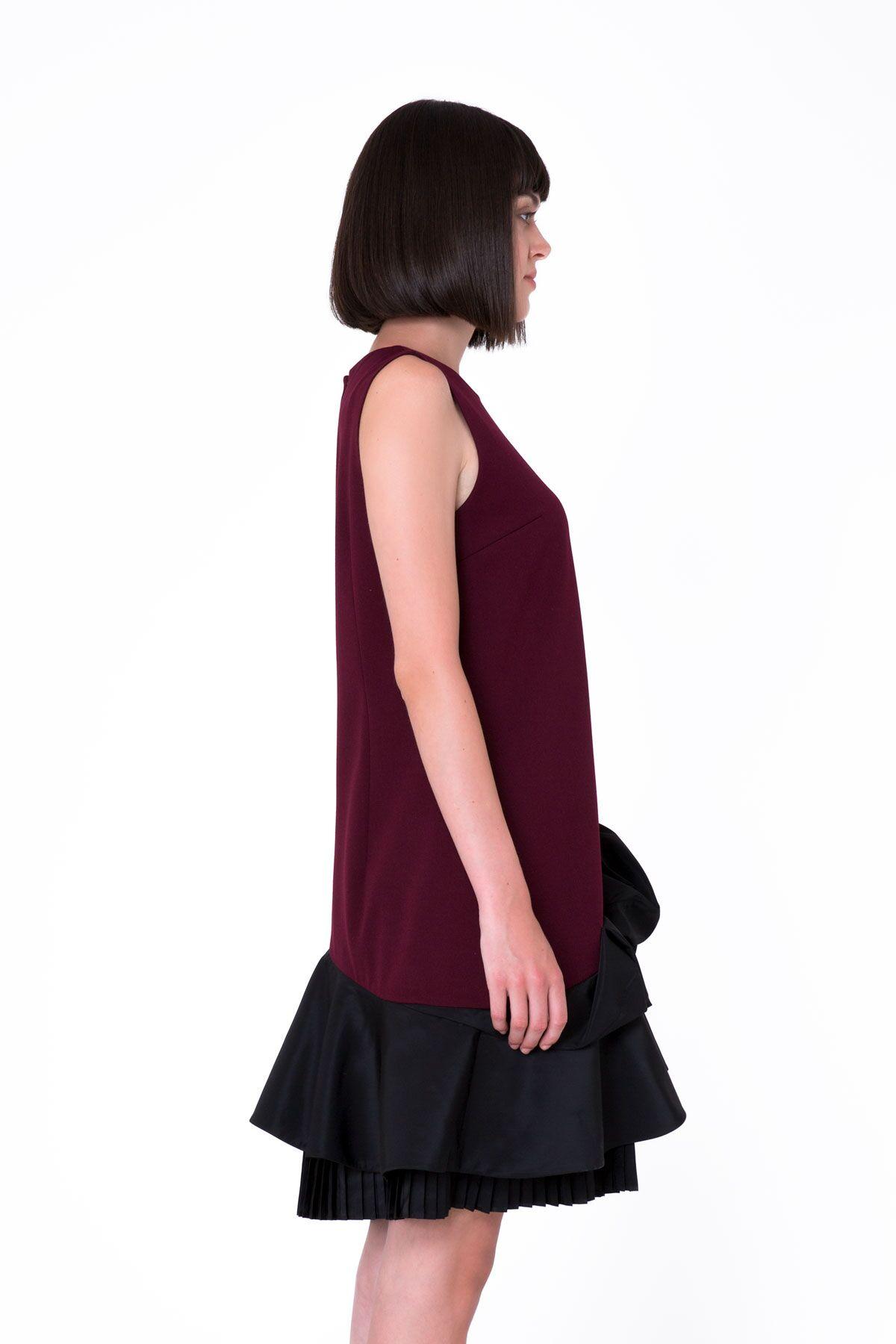 Pile Detaylı Kolsuz Bordo Midi Elbise
