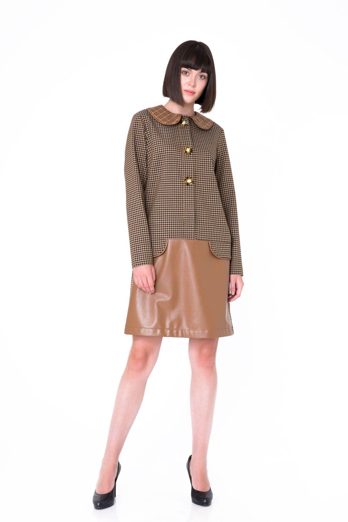 Deri Detaylı Pötikareli Düz Form Mini Elbise