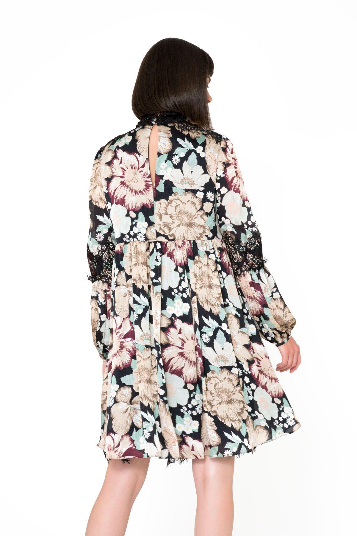 Dantel Detaylı Çiçek Desenli Midi Elbise