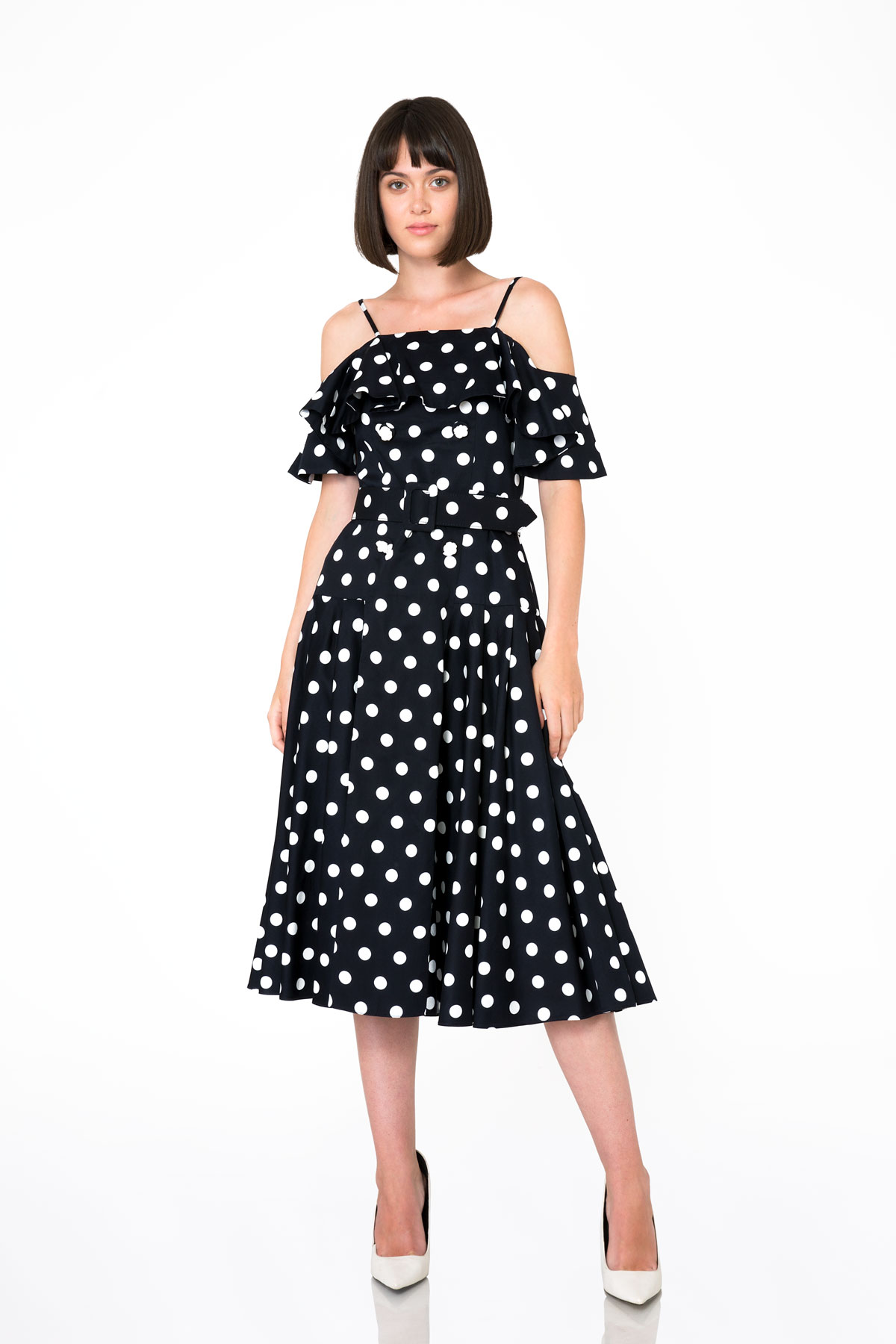 Puantiye Desenli Straplez Koyu Lacivert Midi Elbise