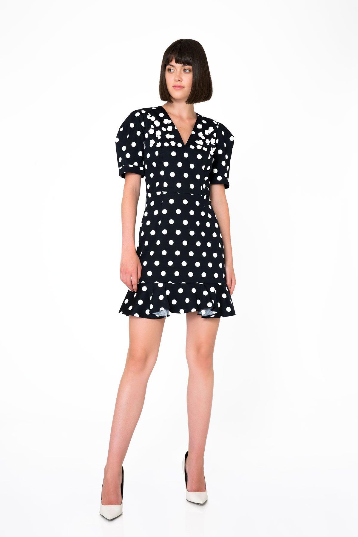 Puantiye Desenli Üçgen Sırt Detaylı Koyu Lacivert Mini Elbise