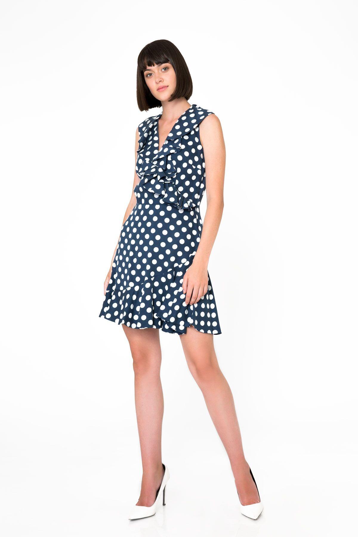 Puantiye Desenli Lacivert Mini Elbise