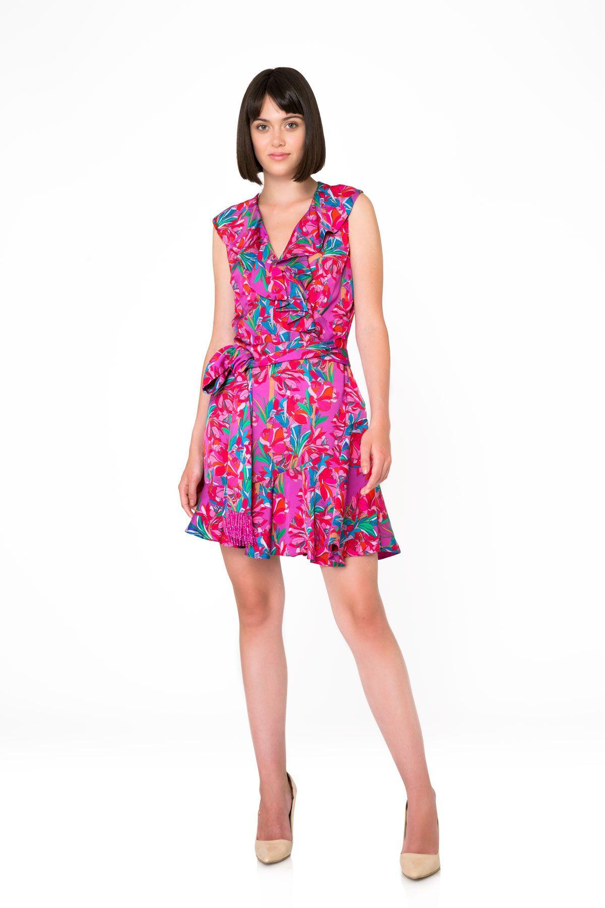 Çiçek Desenli Kolsuz Pembe Mini Elbise