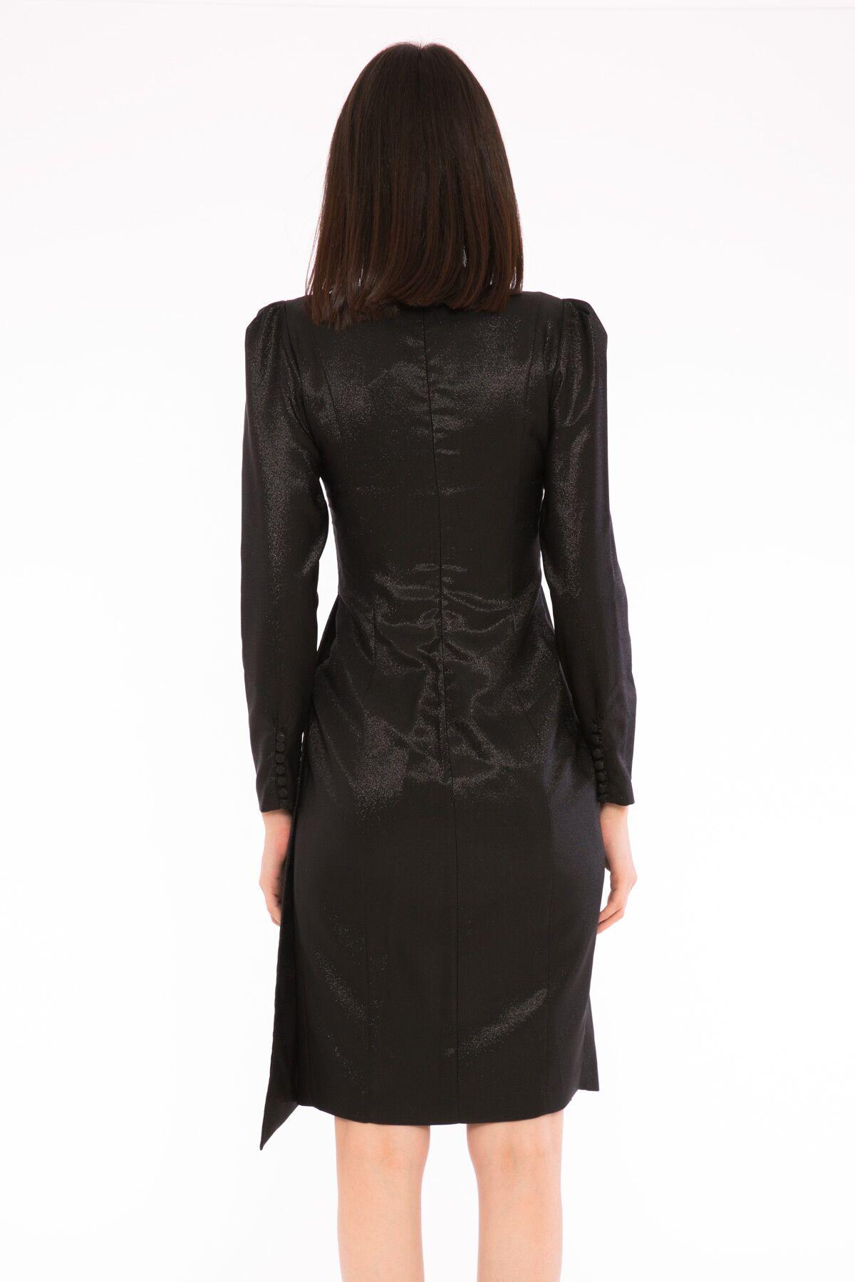 Buzgulu Kollu V Yaka Volanlı Elbise
