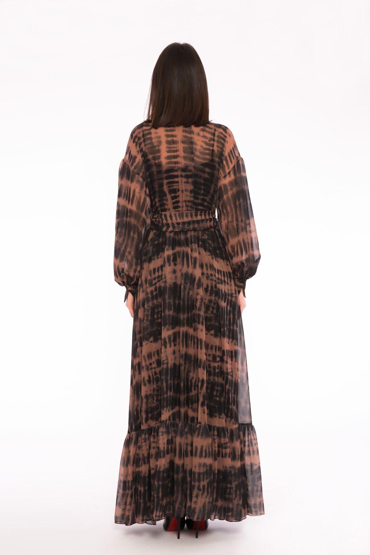 Leopar Desenli V Yaka Uzun Elbise