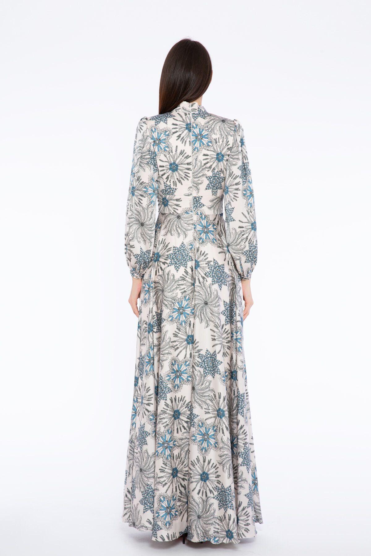 Çiçek Desenli V Yaka Uzun Elbise