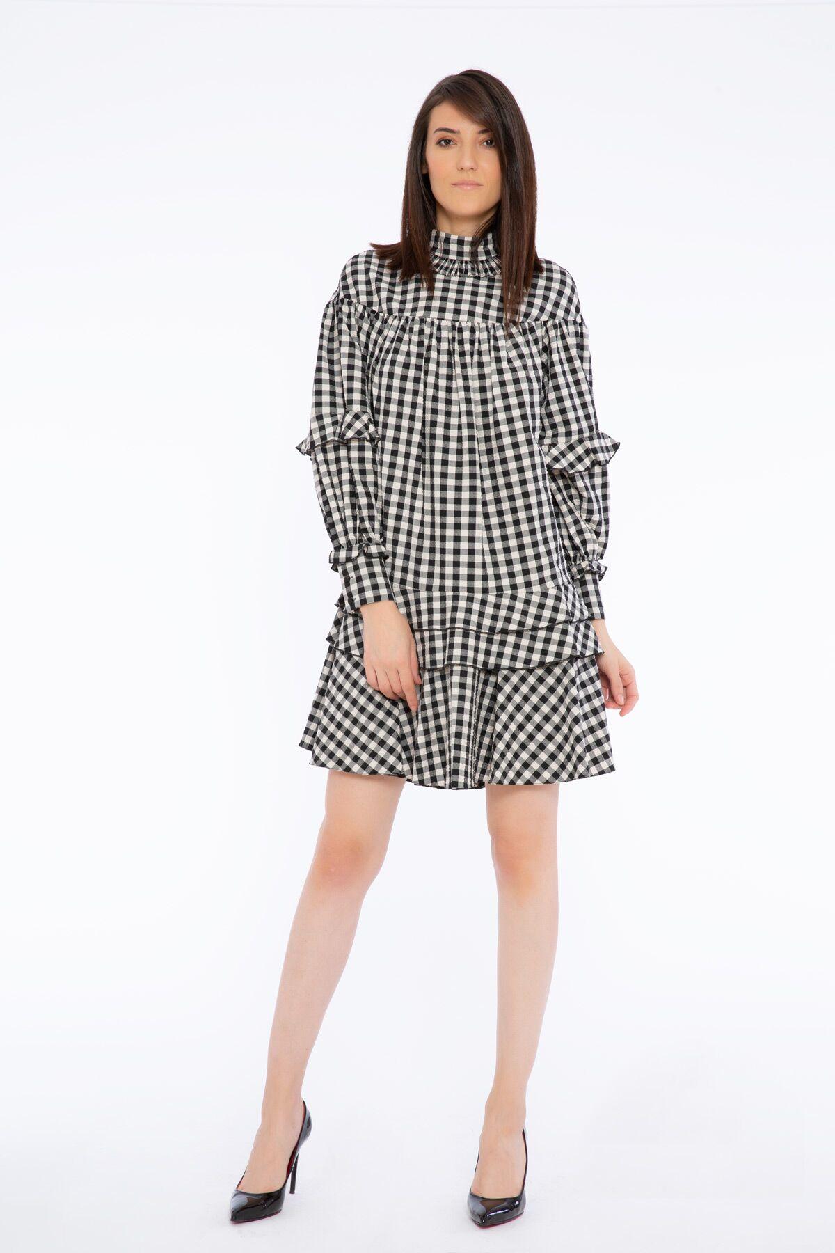 Dik Yaka Fırfır Detaylı Ekose Desenli Mini Elbise