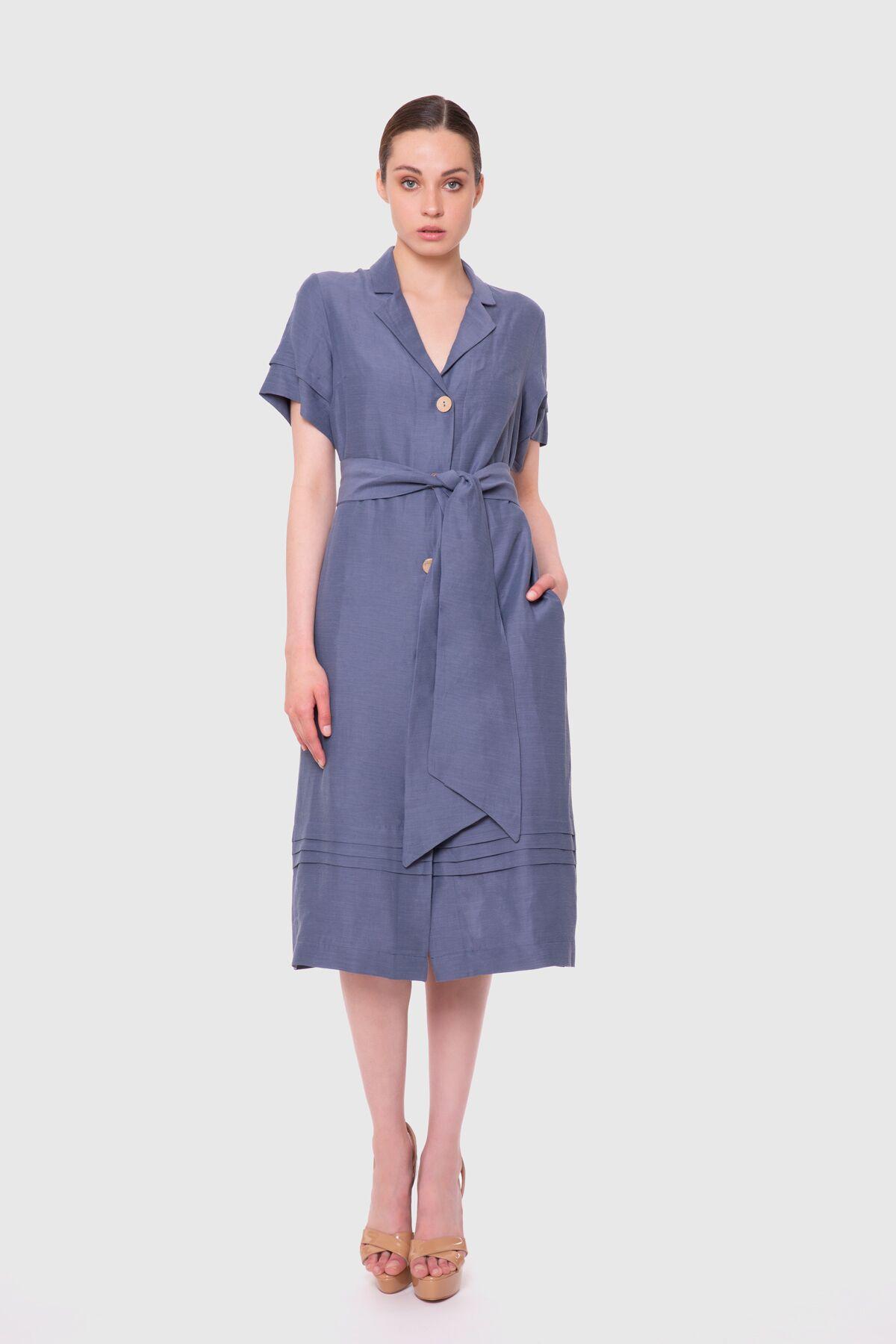 Kemerli Düğmeli Midi Elbise