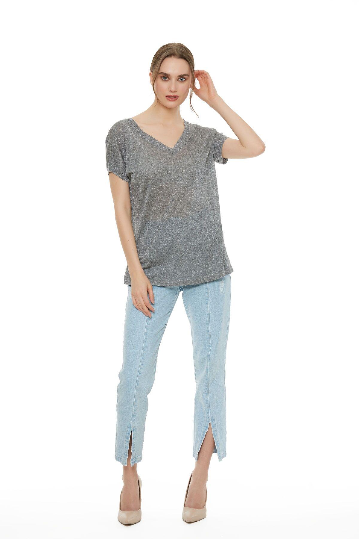 Metalik Gri Triko T-Shirt