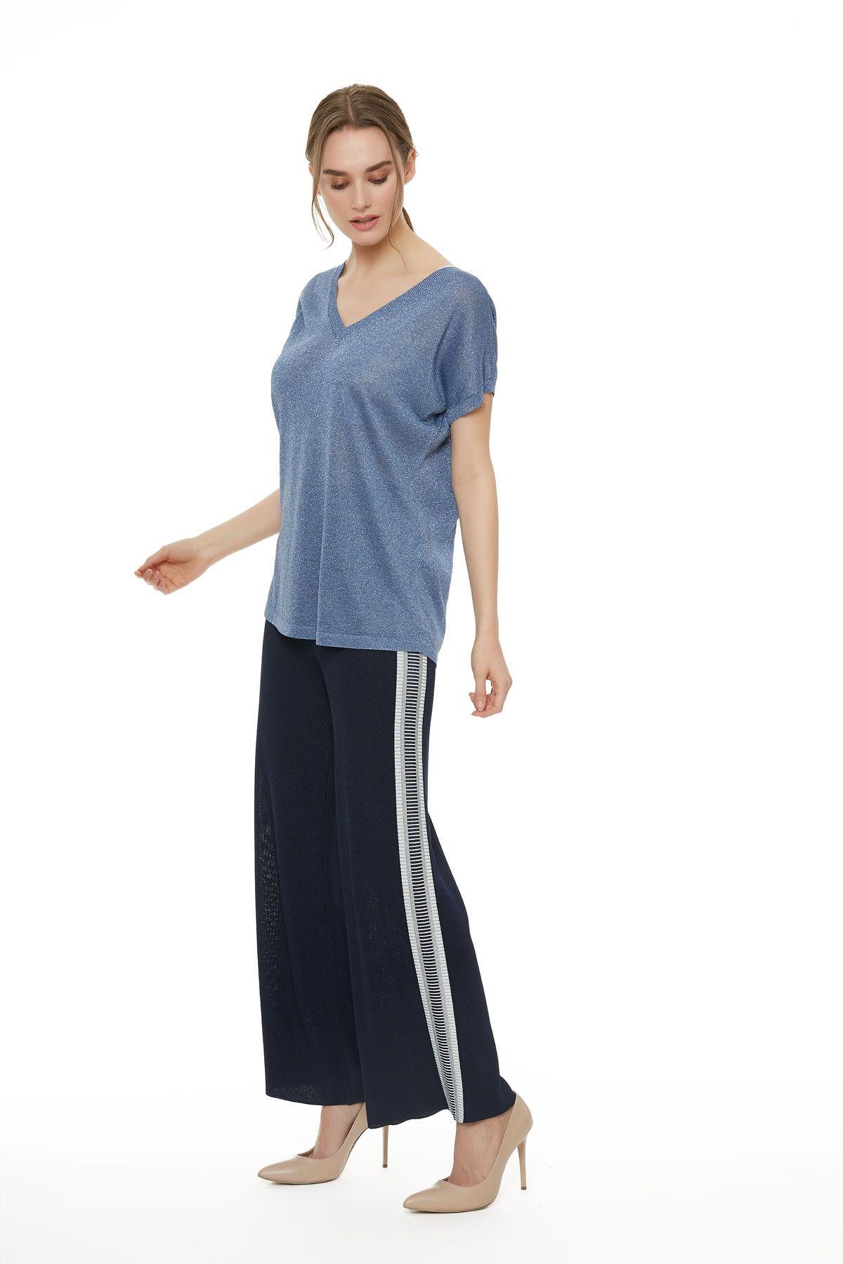 Metalik Mavi Triko T-Shirt