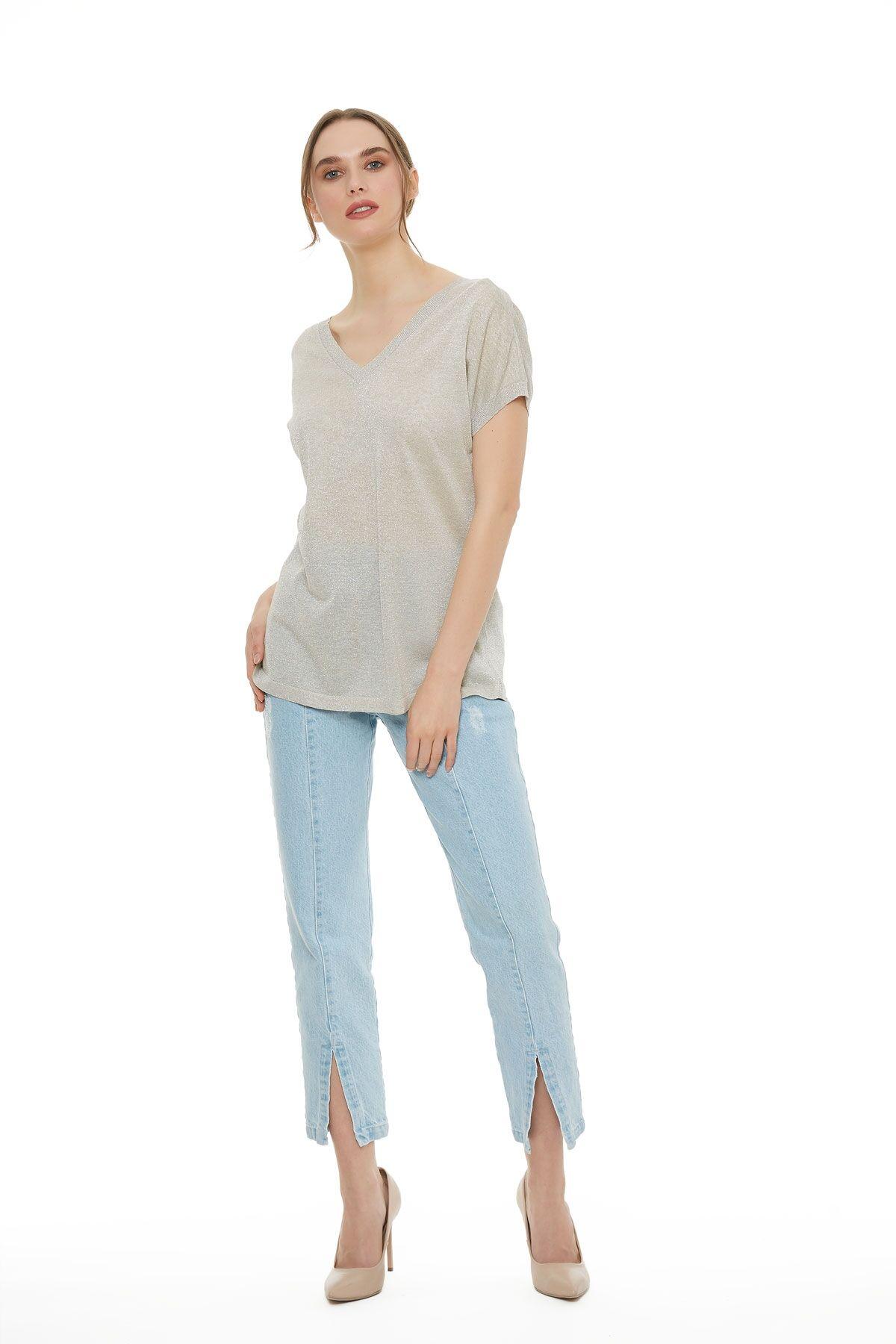 Metalik Taş Rengi Triko T-Shirt