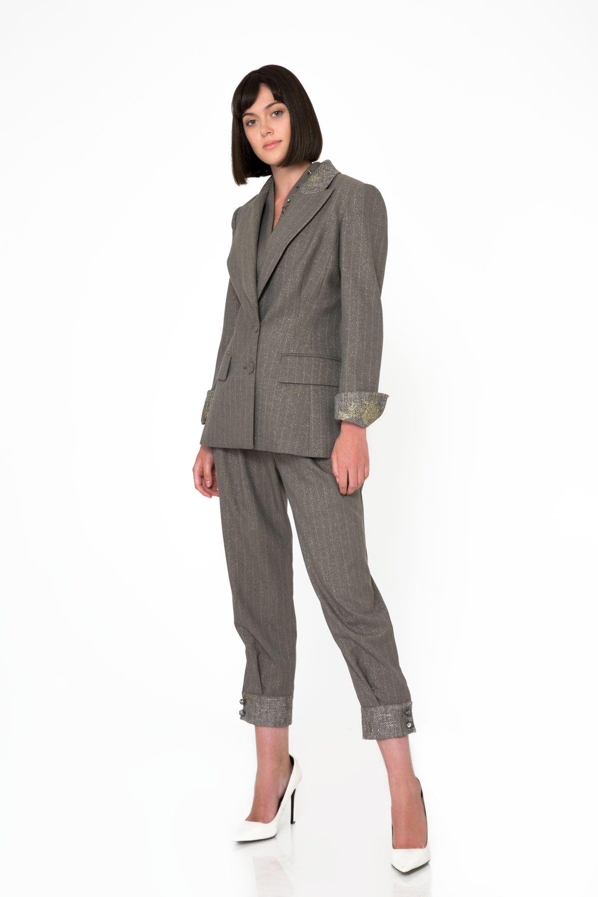Metallic Collar and Ankle Detail Gray Blazer Jacket