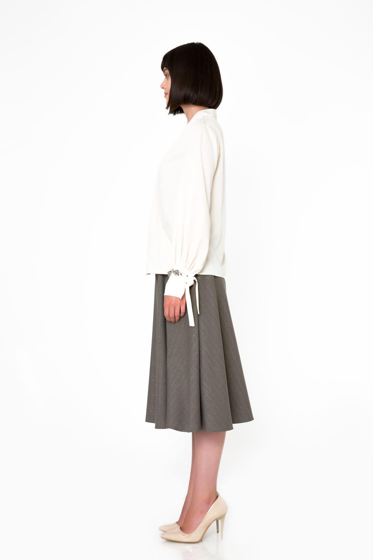 Metallic Striped Fabric Midi Gray Flared Skirt