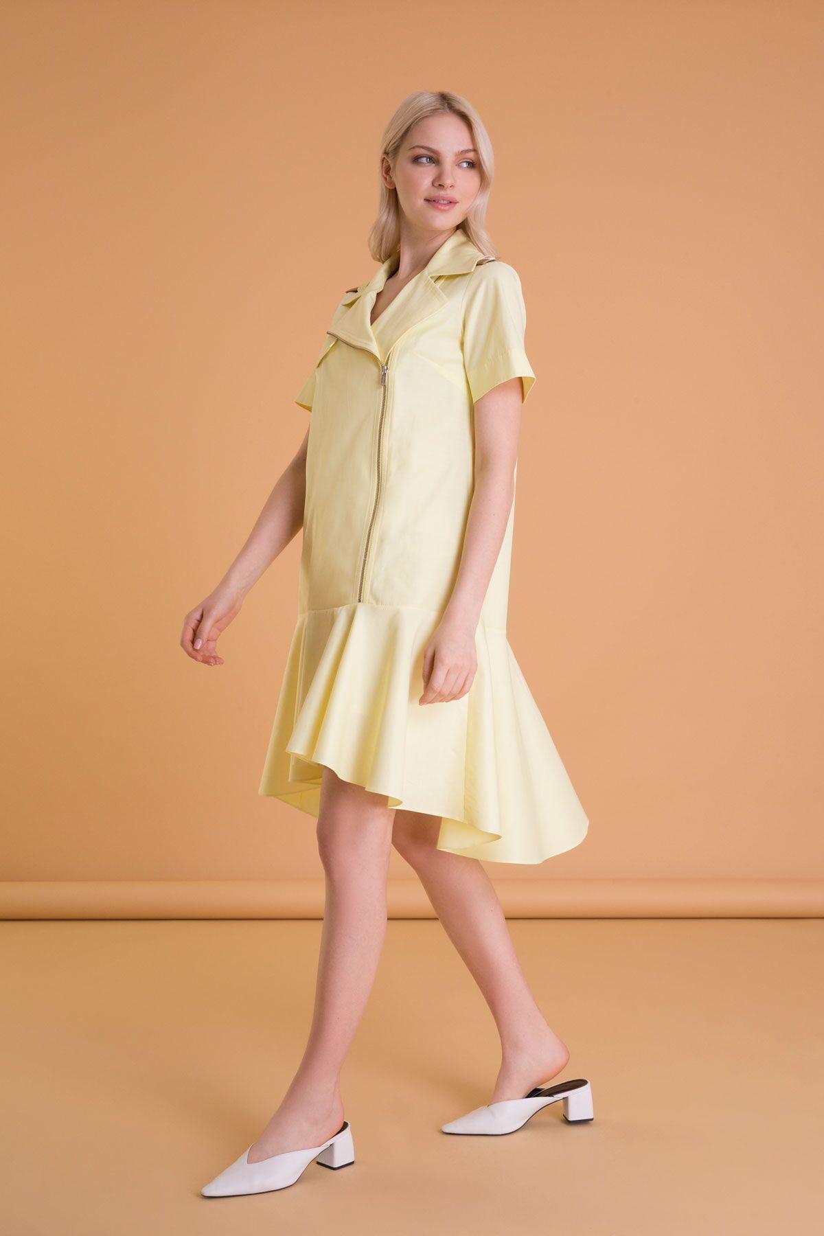Military Detailed Yellow Midi Dress
