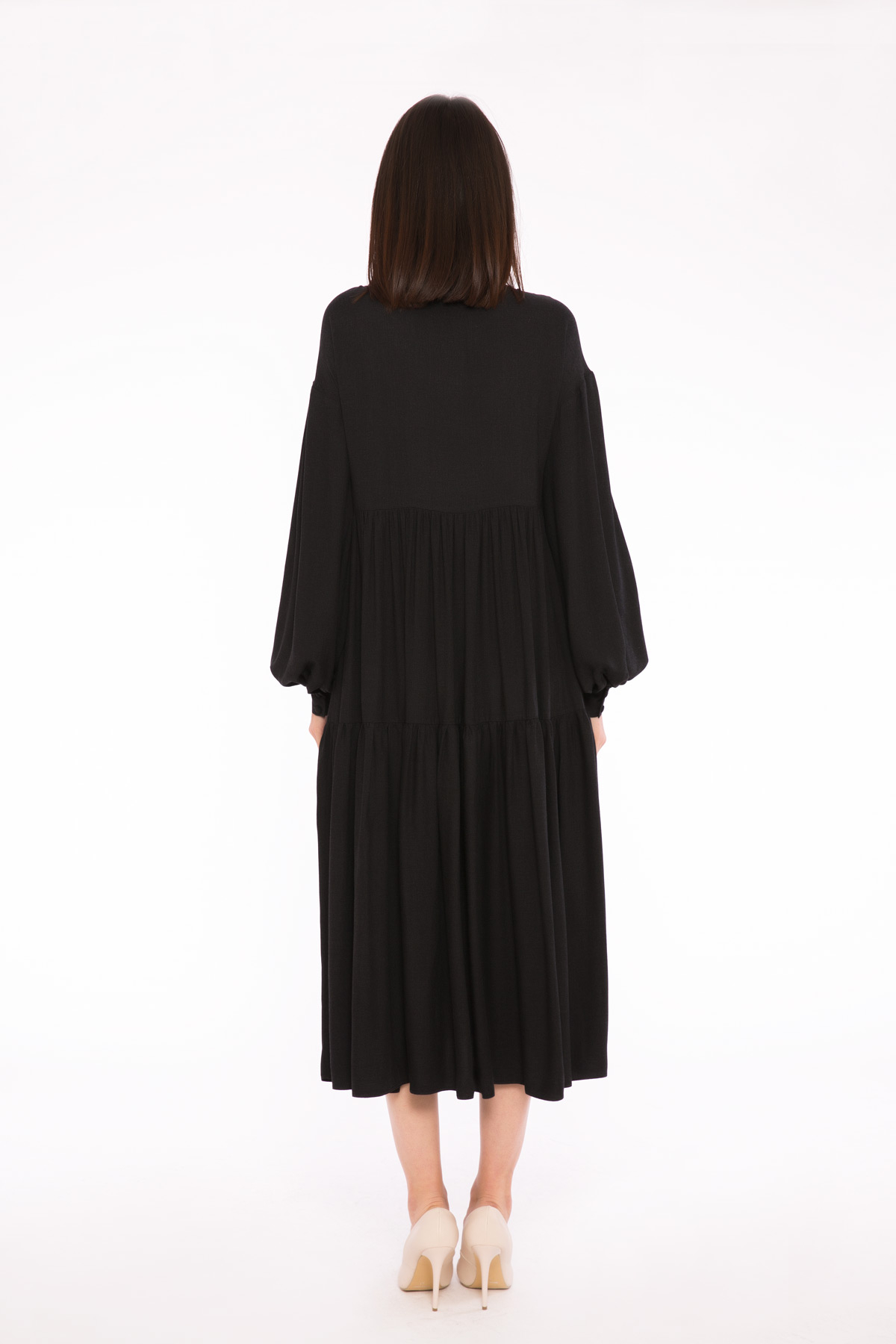 Mini Ekoseli İşleme Detaylı Büzgülü Elbise