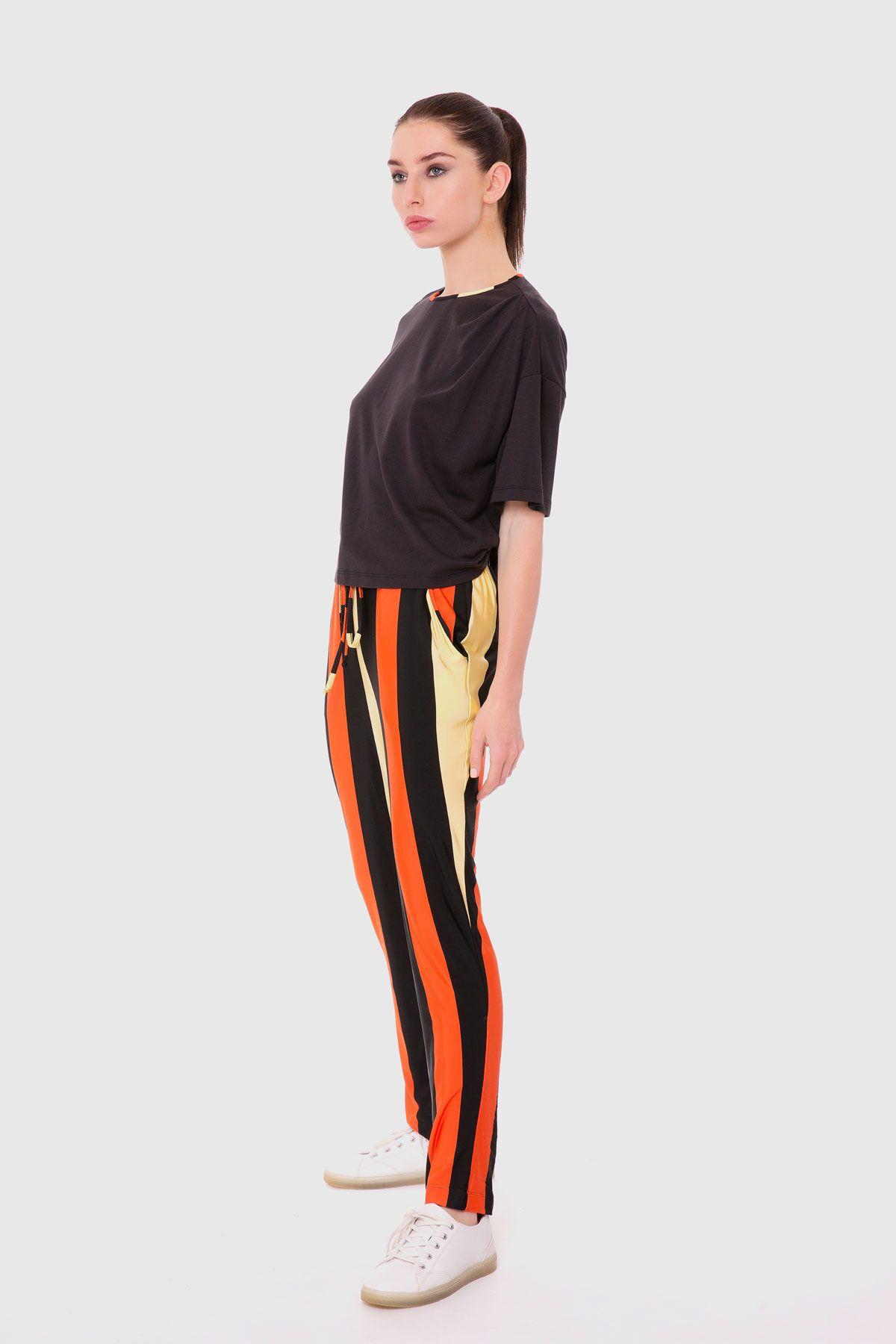 Desenli Jogger Pantolon Bluz Takım