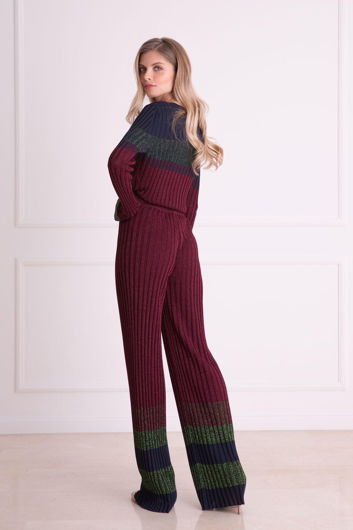 Mürdüm Rengi Fitilli Triko Kumaş Pantolon