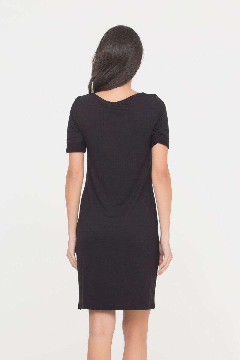 Nakış Detaylı Siyah Elbise