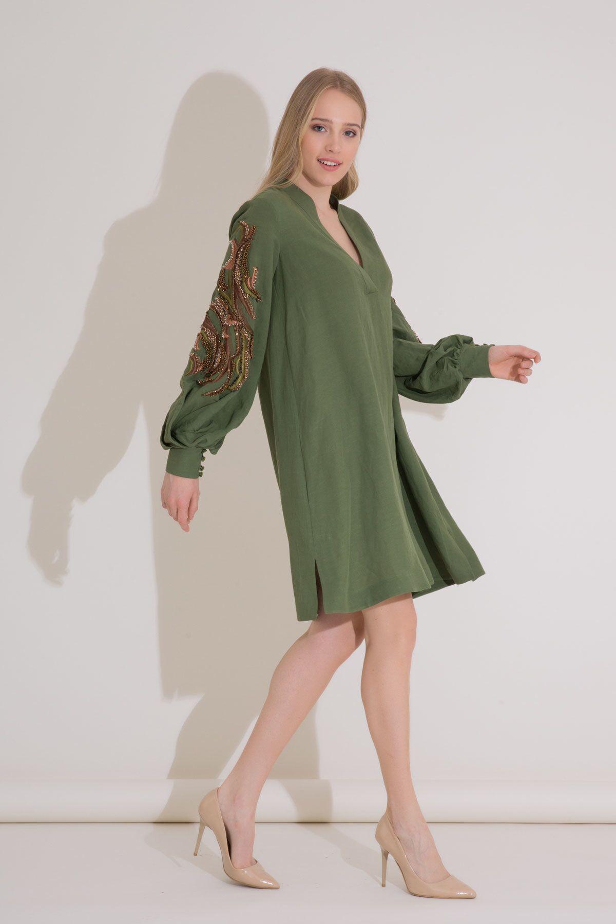 Nakış Detaylı Büzgülü Kollu Viskon Keten Tunik Elbise