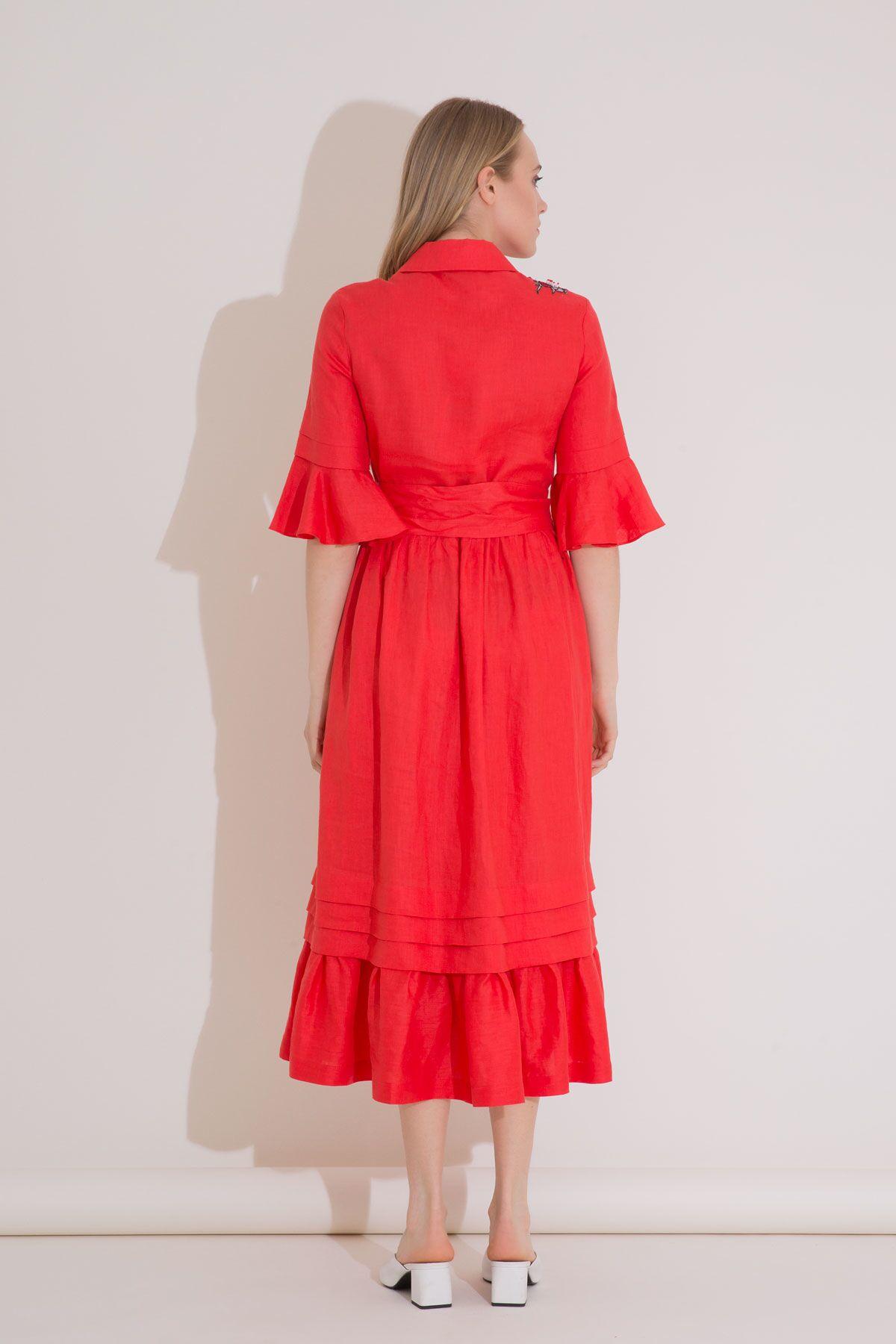Nakış Detaylı Kuşaklı Keten Kırmızı Gömlek Elbise