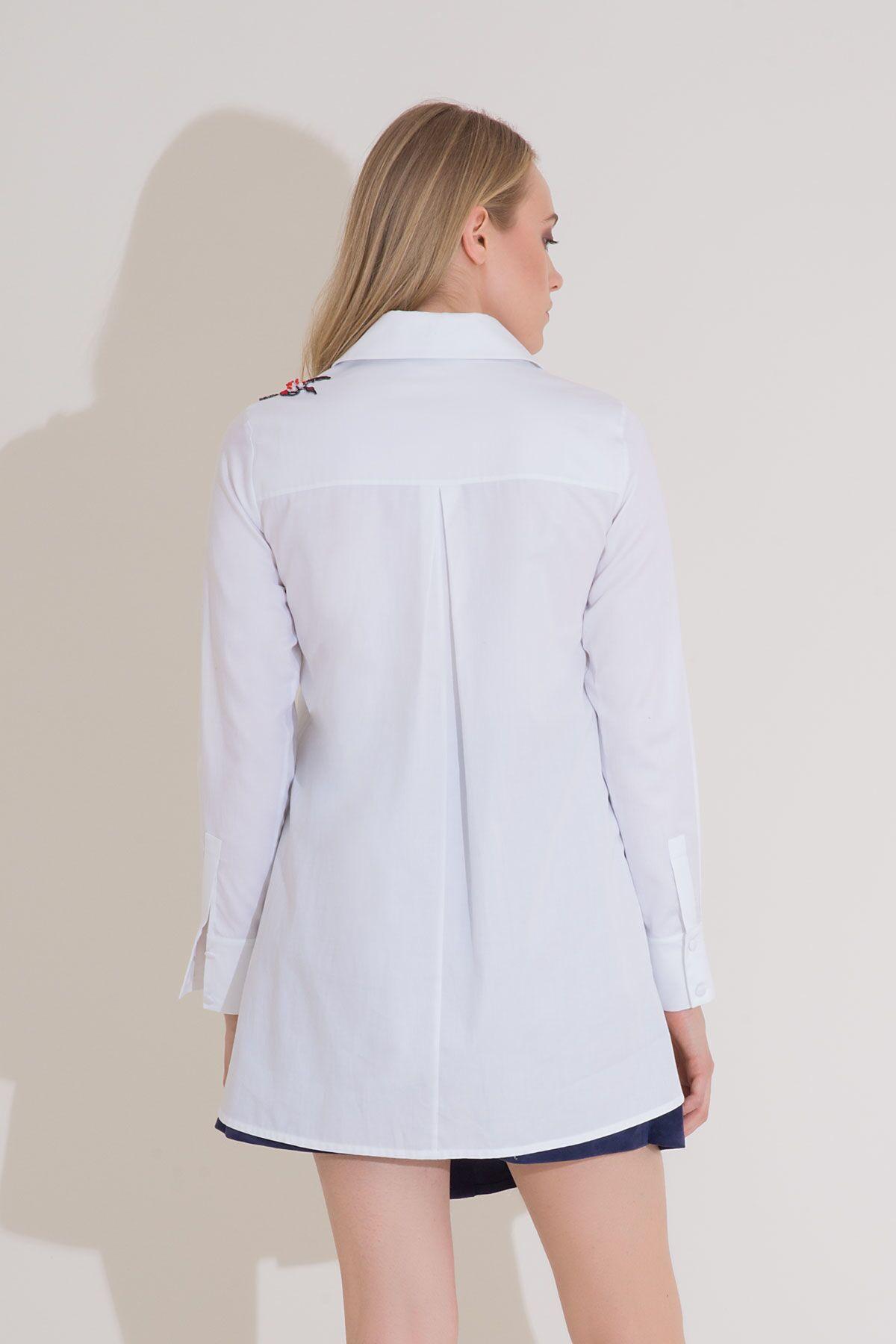 Nakış Detaylı Uzun Kol Beyaz Poplin Gömlek