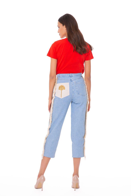 Nakış İşlemeli Çift Renk Kot Pantolon