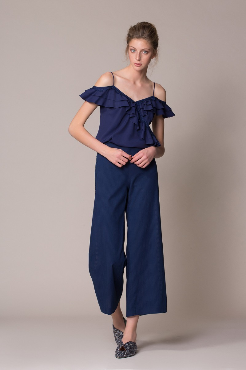 Navy Blue Thin Suspended Blouse
