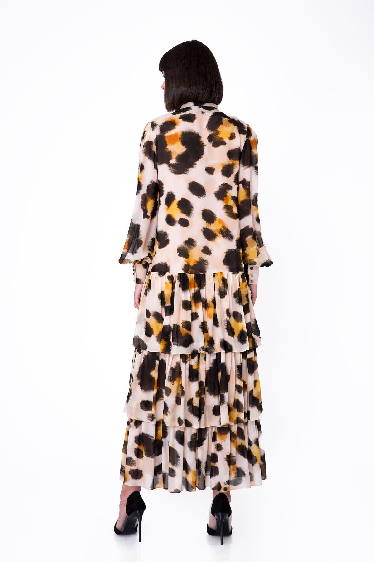 Neck Tie Detailed Leopard Pattern Long Chiffon Dress