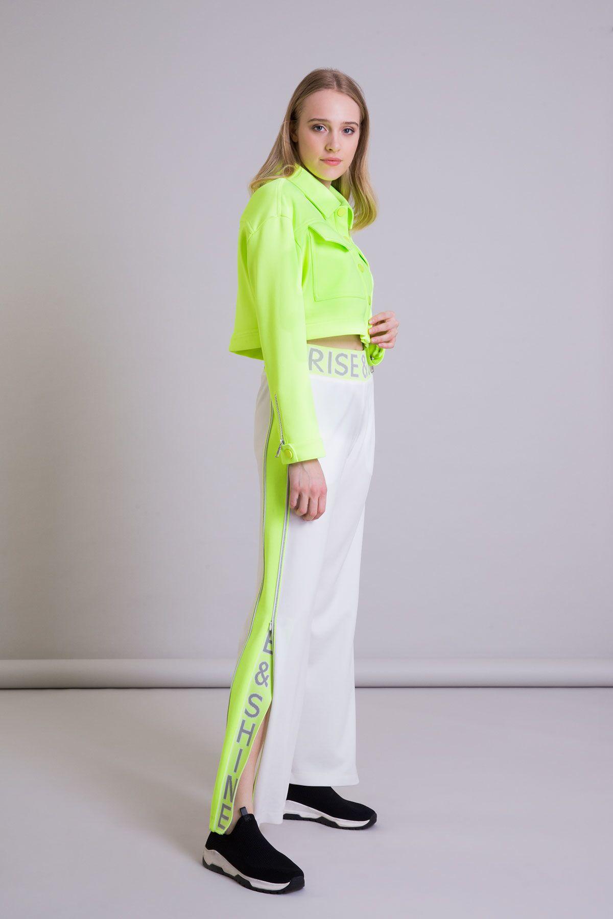 Neon Detaylı Geniş Paça Ekru Spor Pantolon