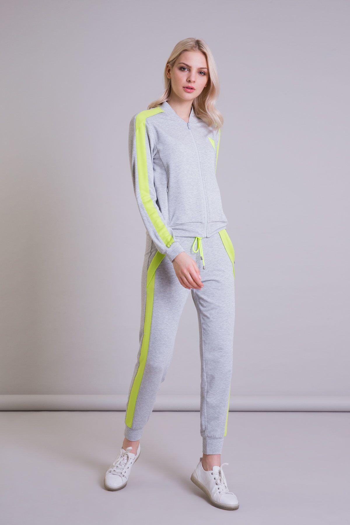 Neon Şerit Detaylı Gri Jogger Pantolon