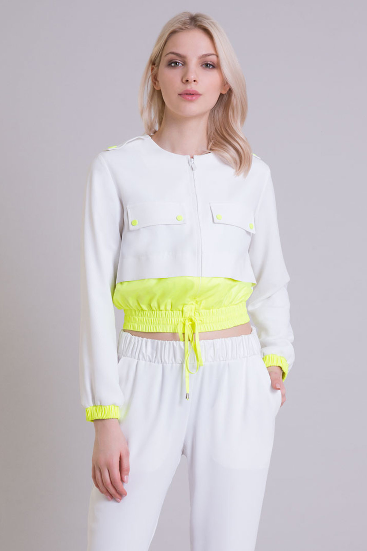Neon Teknik Kumaş Detaylı Ekru Sweatshirt