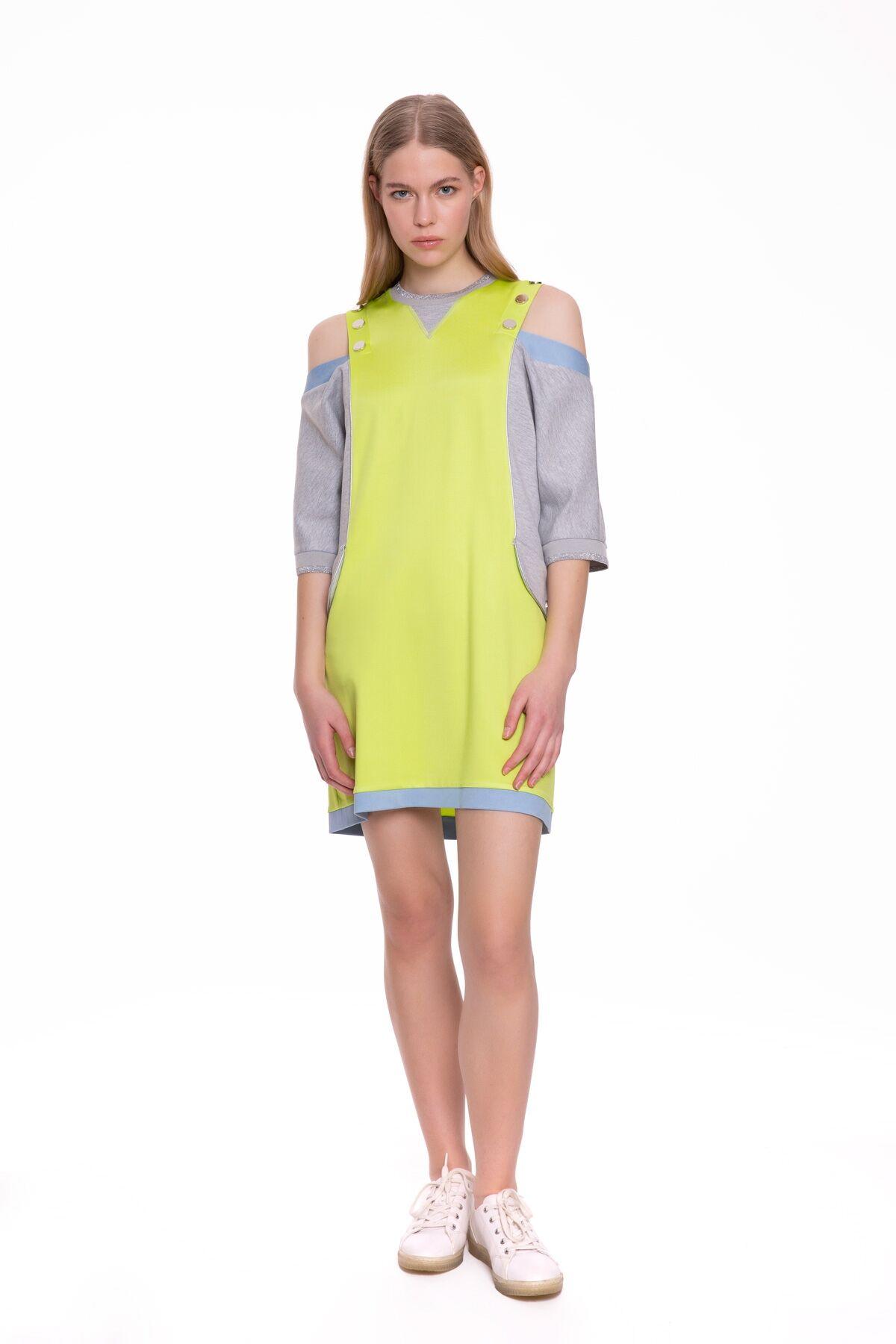 Neon Detaylı Omzu Açık Mini Elbise