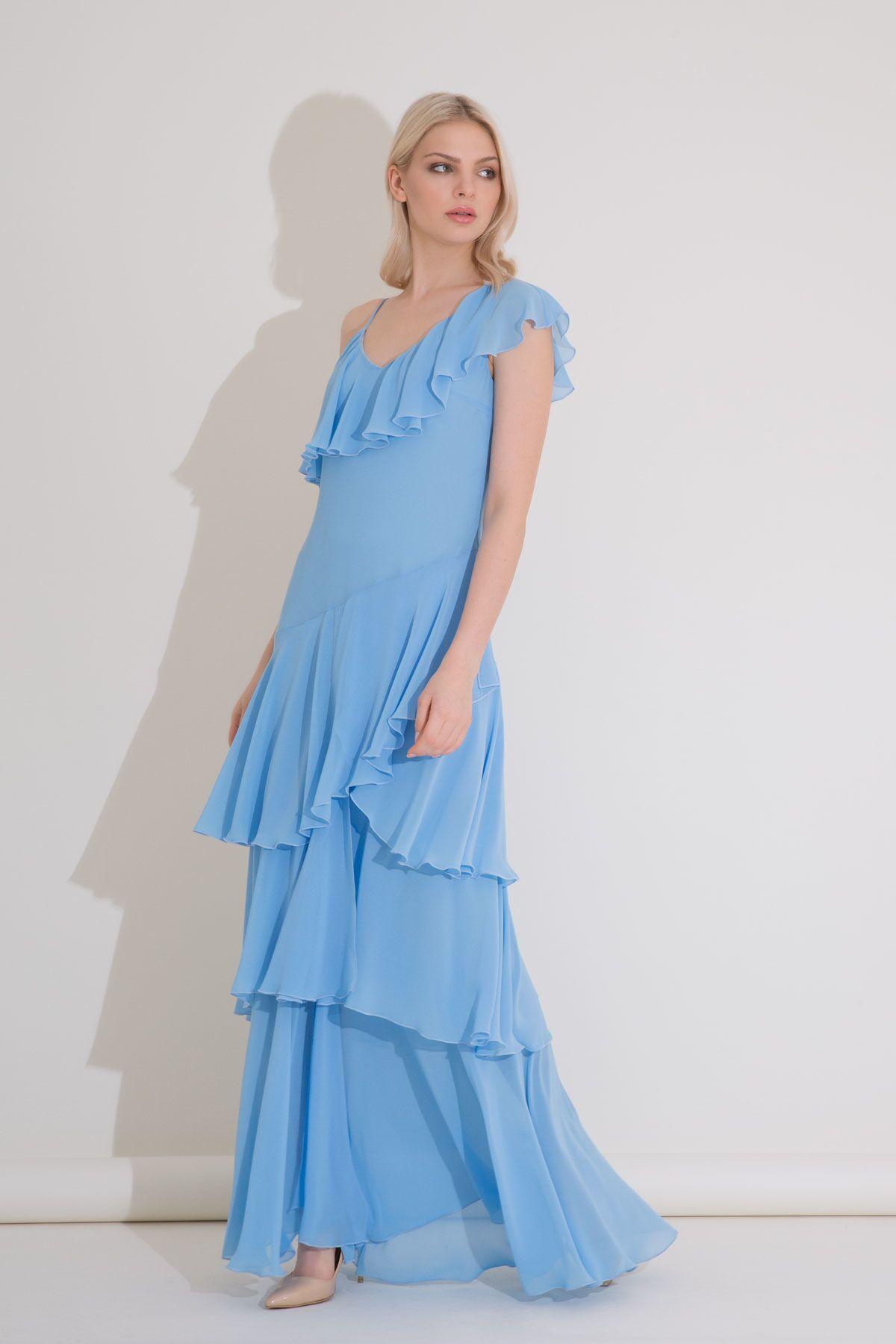 Omuz Detaylı Fırfırlı Mavi Uzun Şifon Elbise