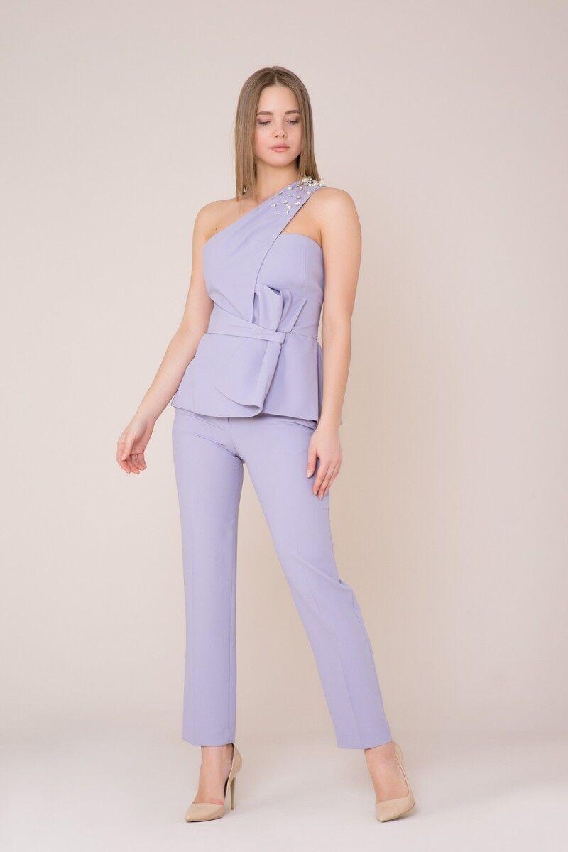 Omuz Taş Detaylı Lila Bluz