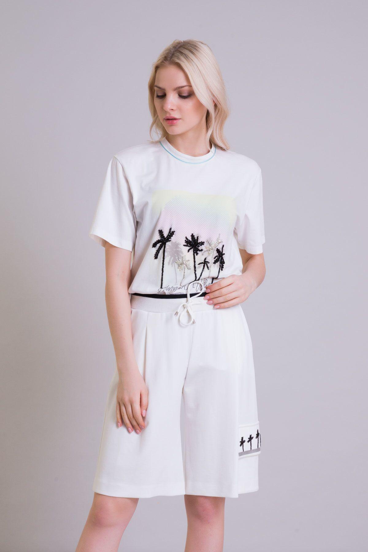 Palmiye Baskı Detaylı Ekru T-shirt