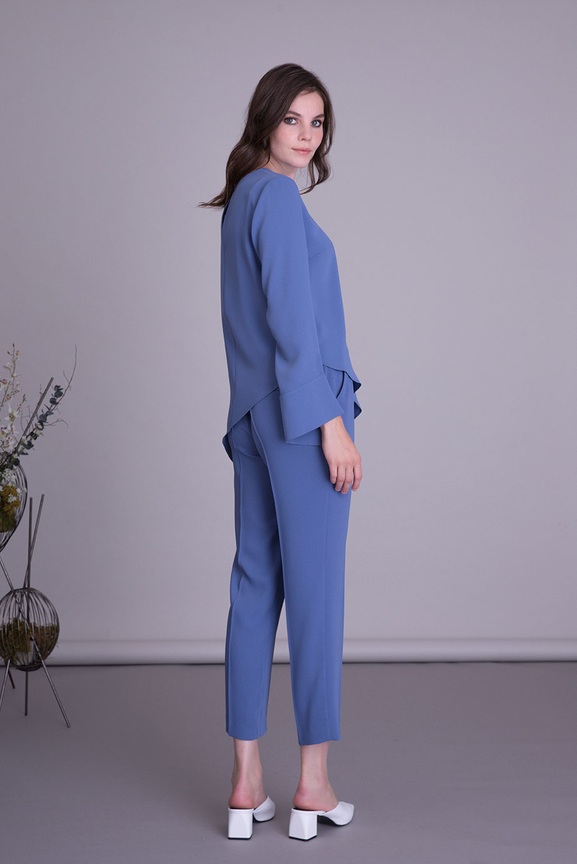 Parlak İşleme Detaylı Asimetrik Mavi Bluz