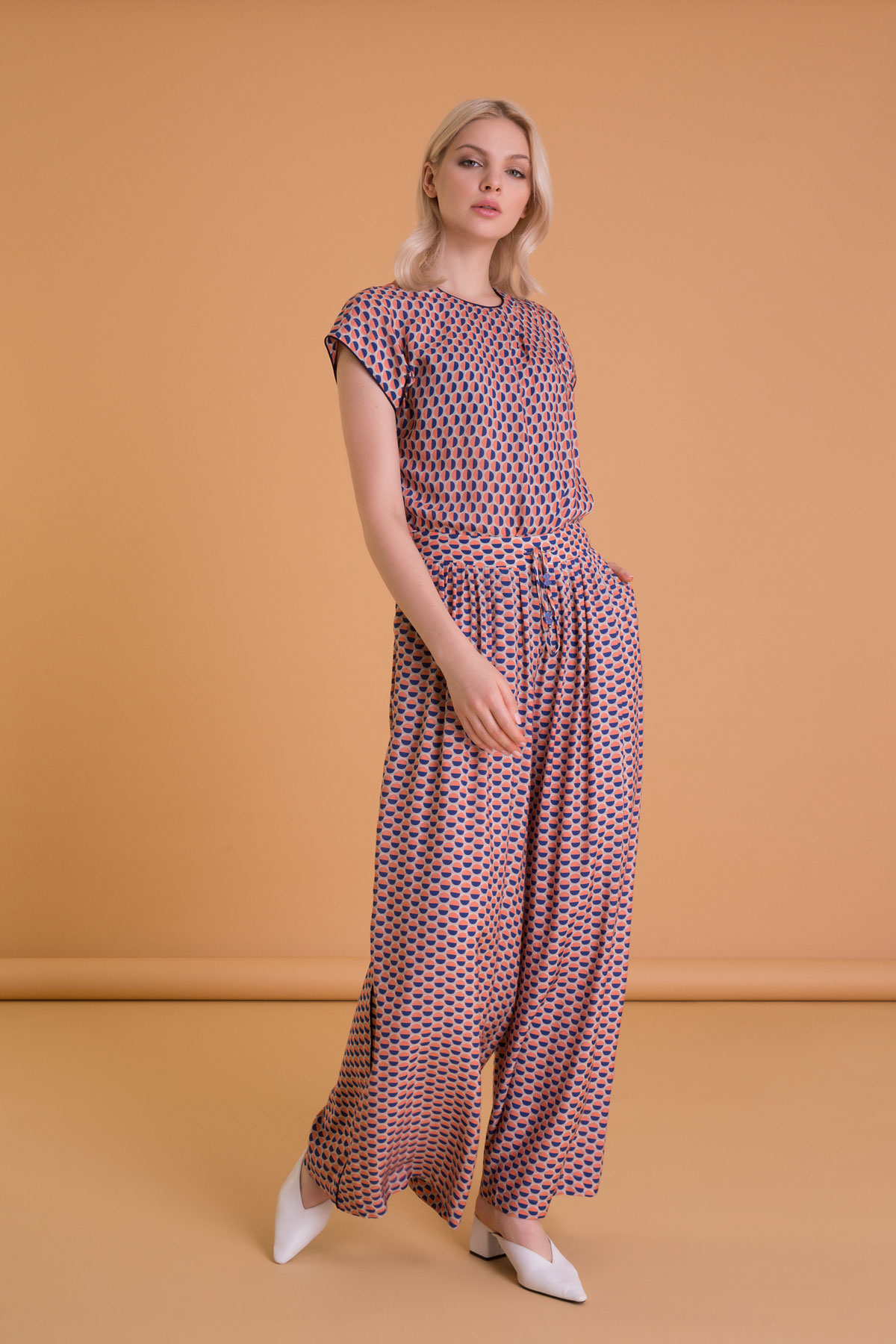 Patterned Mixed Color Wide Leg Trousers