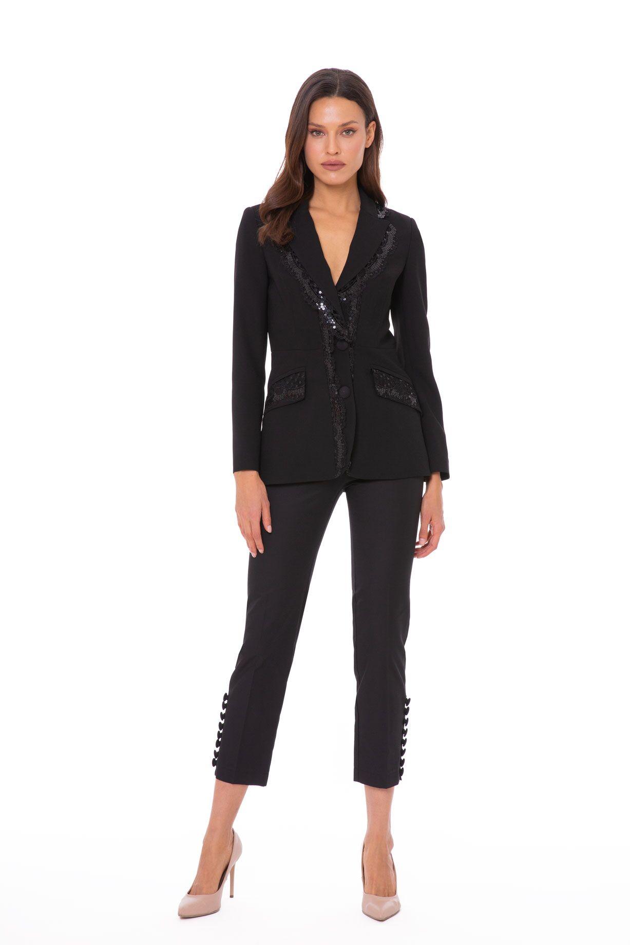 Payet Dantel Detaylı Şık Siyah Blazer Ceket